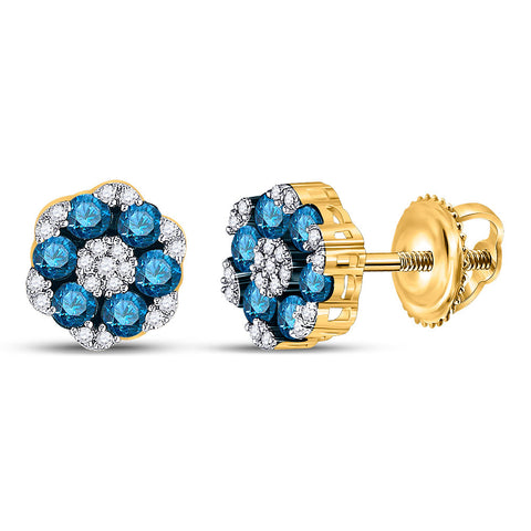 10kt Yellow Gold Womens Round Blue Color Enhanced Diamond Cluster Earrings 1 Cttw