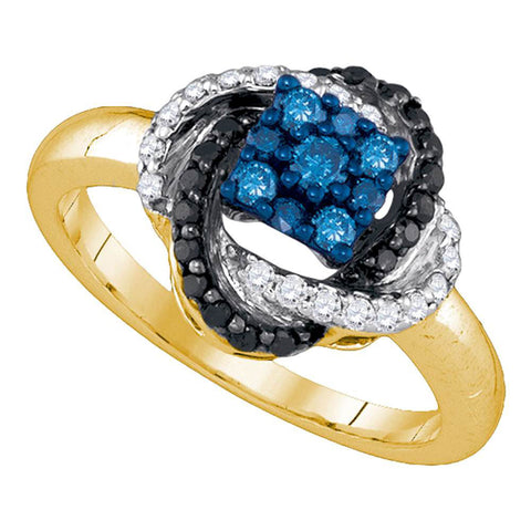 10kt Yellow Gold Womens Round Blue Color Enhanced Diamond Cluster Ring 1/2 Cttw