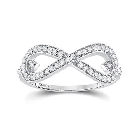 10kt White Gold Womens Round Diamond Infinity Ring 1/3 Cttw