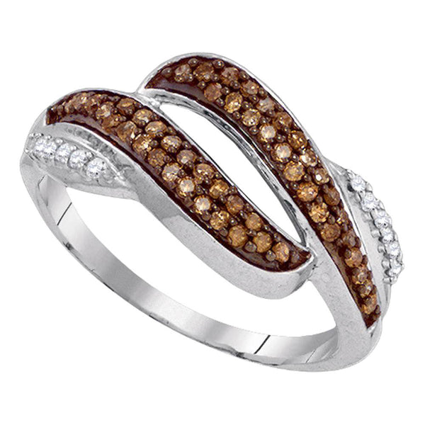 10kt White Gold Womens Round Brown Diamond Band Ring 1/3 Cttw