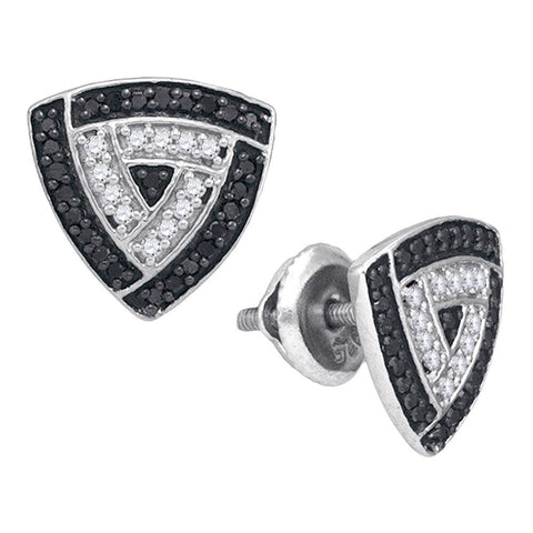 10kt White Gold Womens Round Black Color Enhanced Diamond Triangle Earrings 1/2 Cttw