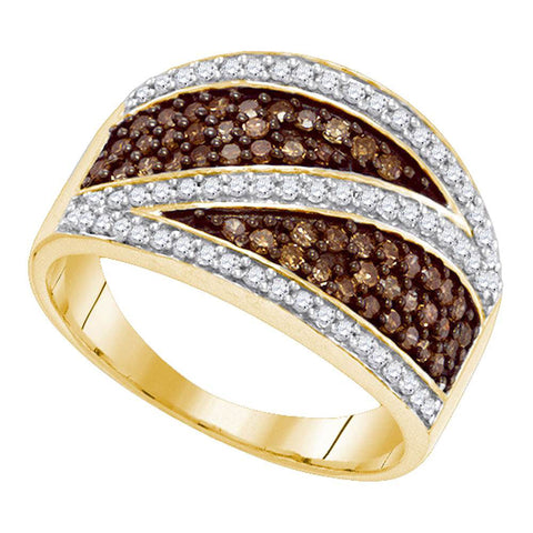 10kt Yellow Gold Womens Round Brown Diamond Crossover Stripe Band Ring 3/4 Cttw