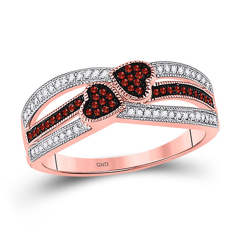 10kt Rose Gold Womens Round Red Color Enhanced Diamond Double Heart Striped Ring 1/5 Cttw