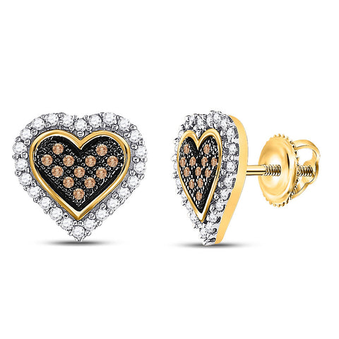 10kt Yellow Gold Womens Round Brown Diamond Heart Cluster Earrings 1/4 Cttw