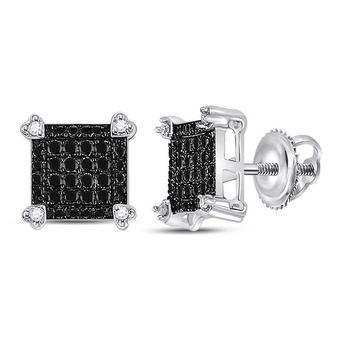 10kt White Gold Womens Round Black Color Enhanced Diamond Square Cluster Earrings 1/4 Cttw