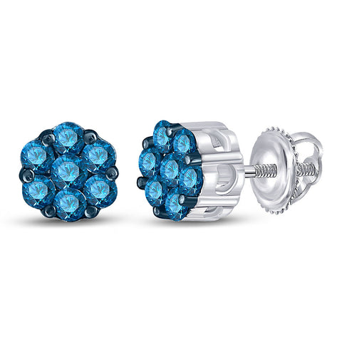10kt White Gold Womens Round Blue Color Enhanced Diamond Cluster Earrings 1/2 Cttw