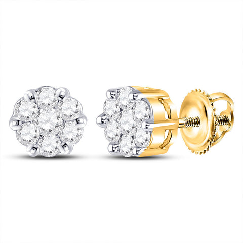 14kt Yellow Gold Womens Round Diamond Flower Cluster Earrings 1/4 Cttw