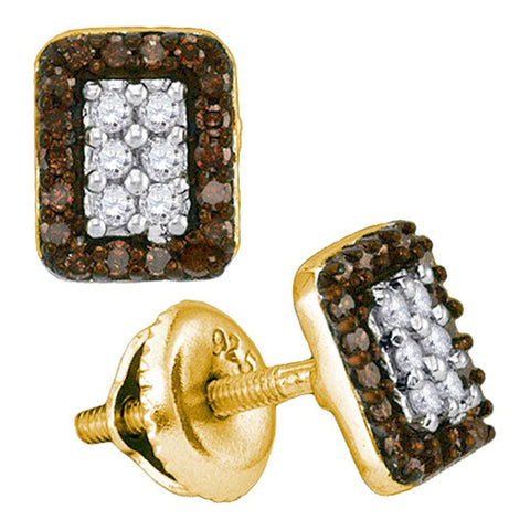 10kt Yellow Gold Womens Round Brown Diamond Rectangle Cluster Earrings 1/3 Cttw