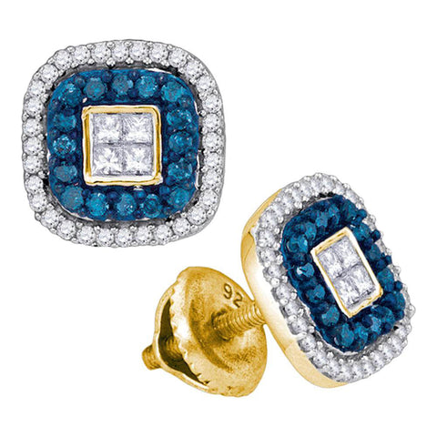 10kt Yellow Gold Womens Round Blue Color Enhanced Diamond Square Cluster Earrings 1/2 Cttw