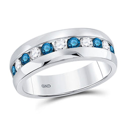 10kt White Gold Mens Round Blue Color Enhanced Diamond Band Ring 1 Cttw