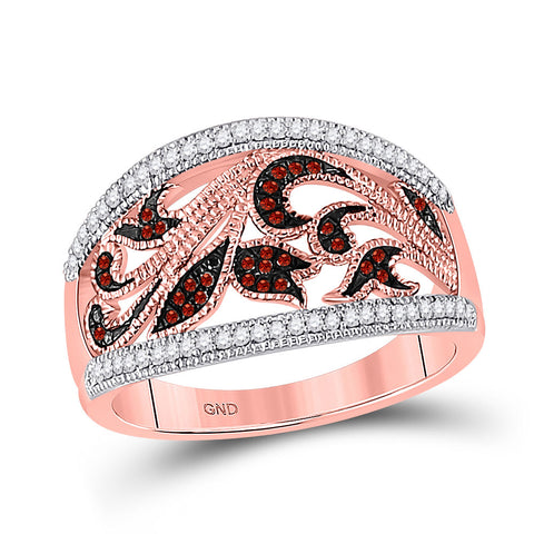 10kt Rose Gold Womens Round Red Color Enhanced Diamond Milgrain Floral Band Ring 1/4 Cttw
