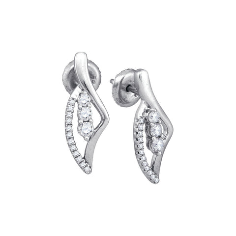 10kt White Gold Womens Round Diamond Fashion Earrings 1/3 Cttw