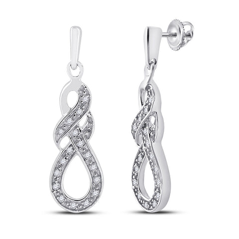 Sterling Silver Womens Round Diamond Dangle Earrings 1/8 Cttw