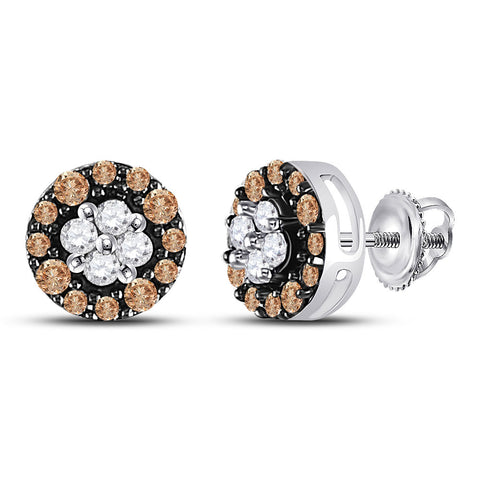 10kt White Gold Womens Round Brown Diamond Cluster Stud Earrings 1/3 Cttw