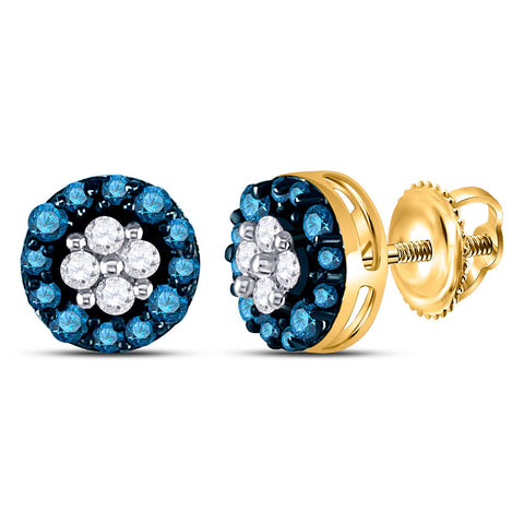 10k Yellow Gold Blue Color Enhanced Round Cluster Diamond Womens Stud Earrings 1/3 Cttw