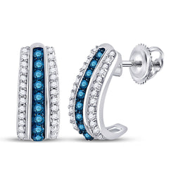 10kt White Gold Womens Round Blue Color Enhanced Diamond Half J Hoop Earrings 1/3 Cttw
