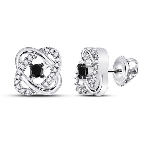 10kt White Gold Womens Round Black Color Enhanced Diamond Fashion Earrings 1/4 Cttw