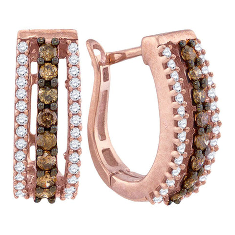 10k Rose Gold Brown White Diamond Womens Pave Hoop Earrings 1/2 Cttw