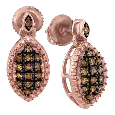 10kt Rose Gold Womens Round Brown Diamond Dangle Earrings 1/3 Cttw