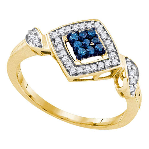 10kt Yellow Gold Womens Round Blue Color Enhanced Diamond Square Ring 1/4 Cttw
