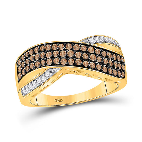 10kt Yellow Gold Womens Round Brown Diamond Crossover Band Ring 3/4 Cttw