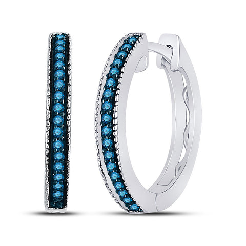 Sterling Silver Womens Round Blue Color Enhanced Diamond Single Row Hoop Earrings 1/10 Cttw