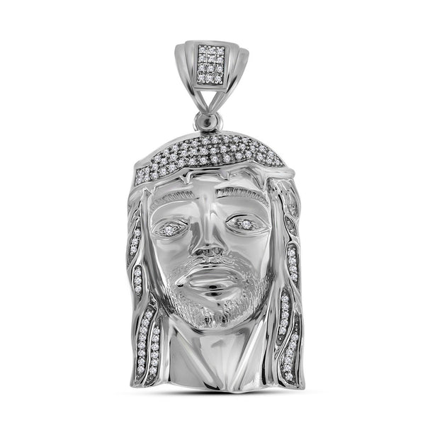 Sterling Silver Mens Round Diamond Jesus Face Charm Pendant 3/8 Cttw