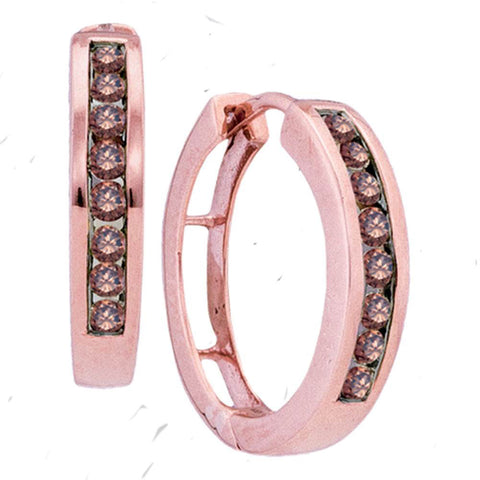10kt Rose Gold Womens Round Brown Diamond Hoop Earrings 1/2 Cttw