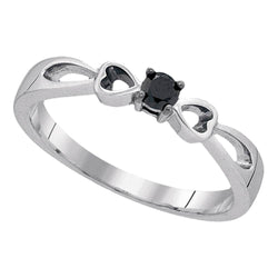 Sterling Silver Womens Round Black Color Enhanced Diamond Solitaire Promise Ring 1/10 Cttw
