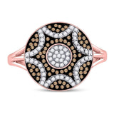 10kt Rose Gold Womens Round Red Color Enhanced Diamond Starburst Cluster Ring 1/3 Cttw