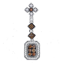 14kt Yellow Gold Womens Round Brown Diamond Fashion Pendant 1/2 Cttw