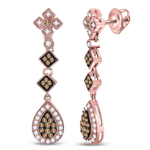 14kt Rose Gold Womens Round Brown Diamond Dangle Earrings 5/8 Cttw