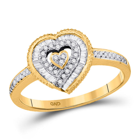 10kt Yellow Gold Womens Round Diamond Heart Ring 1/4 Cttw