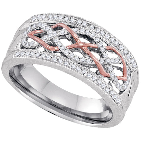 10kt Two-tone Gold Womens Round Diamond Filigree Band Ring 1/4 Cttw