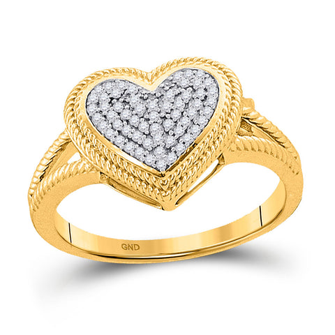 10kt Yellow Gold Womens Round Diamond Rope Heart Cluster Ring 1/6 Cttw