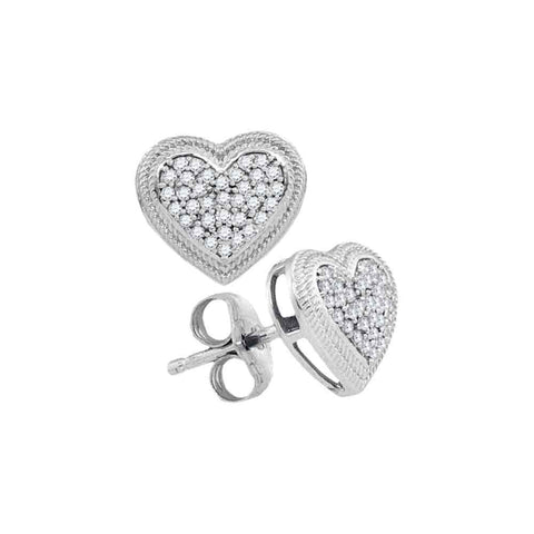 10kt White Gold Womens Round Diamond Heart Cluster Earrings 1/5 Cttw
