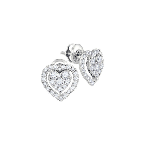 14kt White Gold Womens Round Diamond Heart Frame Cluster Stud Earrings 3/4 Cttw