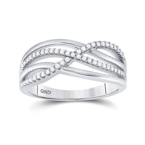 10k White Gold Womens Round Diamond Crossover Woven Band 1/5 Cttw