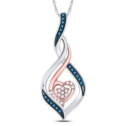 10kt Two-tone Gold Womens Round Blue Color Enhanced Diamond Heart Pendant 1/10 Cttw