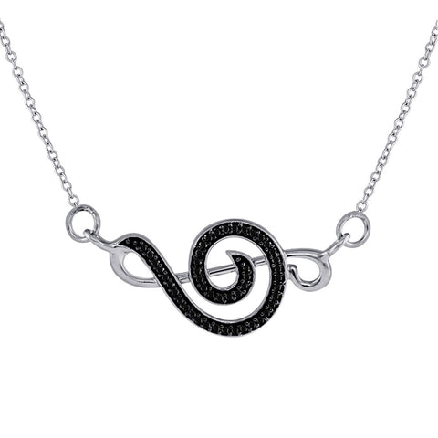 Sterling Silver Womens Round Black Color Enhanced Diamond Treble Clef Necklace 1/8 Cttw