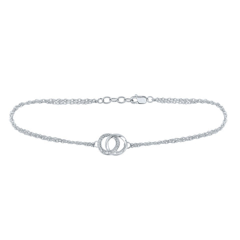 Sterling Silver Womens Round Diamond Linked Double Circle Fashion Bracelet 1/20 Cttw