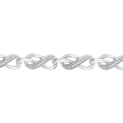10kt White Gold Womens Round Diamond Infinity Link Bracelet 1/5 Cttw