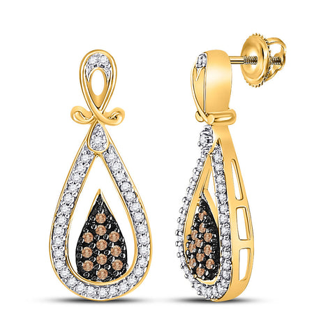 10kt Yellow Gold Womens Round Brown Diamond Teardrop Dangle Earrings 1/3 Cttw
