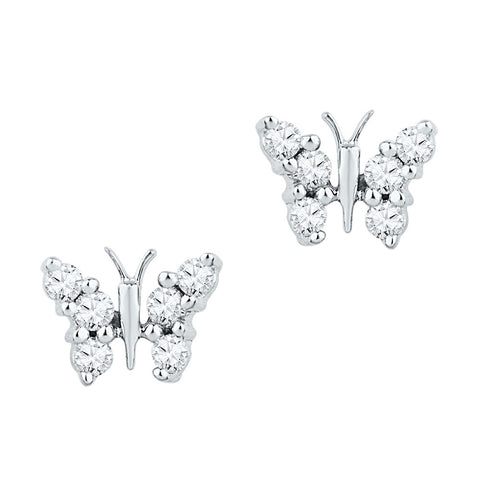 10kt White Gold Womens Round Diamond Butterfly Bug Earrings 1/5 Cttw