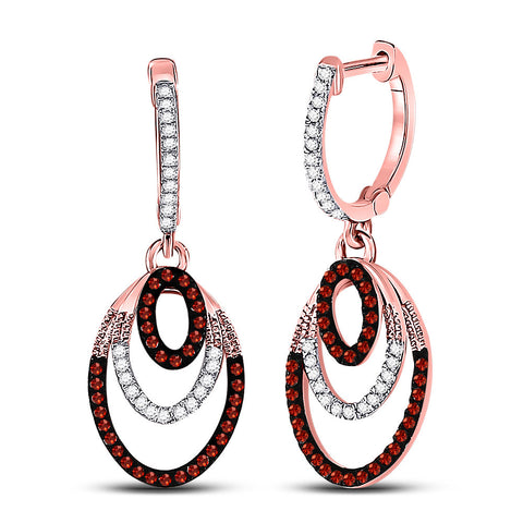 10kt Rose Gold Womens Round Red Color Enhanced Diamond Oval Dangle Earrings 1/3 Cttw