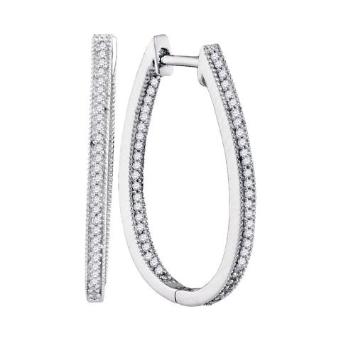 10kt White Gold Womens Round Diamond Oblong Hoop Earrings 1/3 Cttw