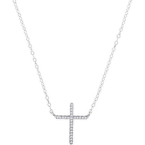 10kt White Gold Womens Round Diamond Cross Religious Pendant Necklace 1/12 Cttw