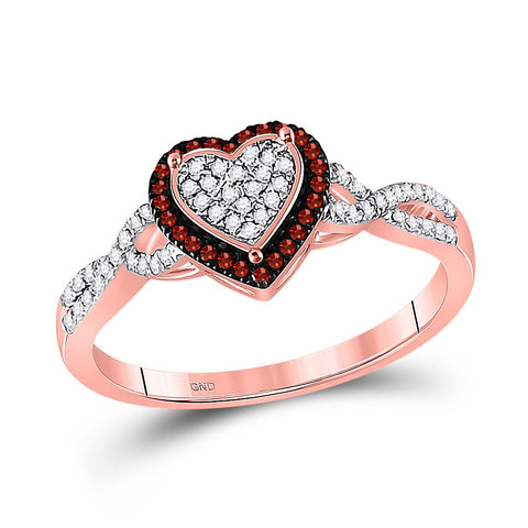 10kt Rose Gold Womens Round Red Color Enhanced Diamond Heart Cluster Twist Ring 1/5 Cttw