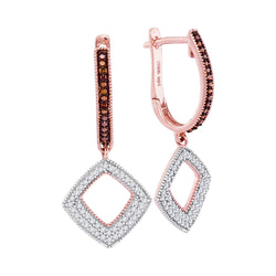 10kt Rose Gold Womens Round Red Color Enhanced Diamond Square Dangle Hoop Earrings 3/8 Cttw