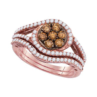 10kt Rose Gold Womens Round Brown Diamond Bridal Wedding Ring Band Set 1 Cttw